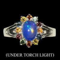 Oval Cab 8x6mm Rainbow Fire Opal Multi Color Sapphire 925 Sterling Silver Ring