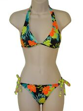 Hurley bikini set swimsuit size S black floral reverible halter tie side nwt new