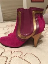 SPECIAL! GORGEOUS! Women's 8M Poetic License Pink/Gold Suede/Leather Ankle Boot