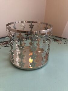 Bath and Body Works Three Wick Candle Holder Sleeve Silver Tiny Floral Flowers