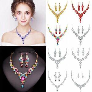 Fashion Wedding Bridal Party Crystal Rhinestone Necklace Earrings Jewelry Set