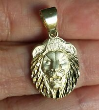 Real 14k Yellow Gold lion Pendant charm 1.10 inch long