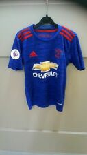 FF7802 BOYS BLUE WHITE RED MANCHESTER UNITED FOOTBALL SHIRT UK 28