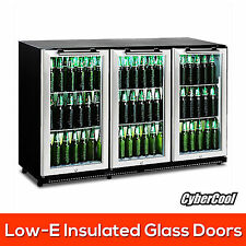 330 Litre 3 Door Stainless Steel Glass Door Display Bar Drink Under Bench Fridge