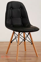 Round Dining table and 4 leather chairs retro DSW DSR Eiffel-=--