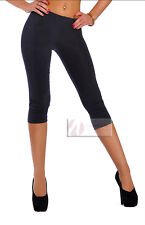 Womens 3/4 Leggings Soft Cotton Active Wear Casual Cropped Pants Size 8-26