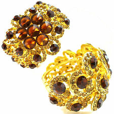 USA Bracelet gold rhinestone brown amber CRYSTAL stretch wide bridal bangle NEW