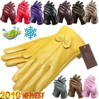 Women's Leather Gloves Genuine Winter Warm Lambskin Driving Soft Lining Hot