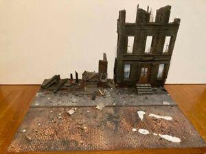 "WWII 1/35 Diorama Base w/Building ruins 16"" x 12"" size"