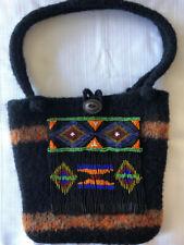Black Felted Wool Handmade Handbag Purse Tote Beaded Fringed Native Lined NICE