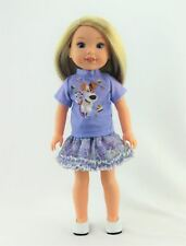 """Pets Inspired Dog Top Skirt Set Fits Wellie Wishers 14.5"""" American Girl Clothes"""