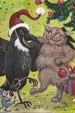 LE #2 4X6 POSTCARD RYTA CHRISTMAS WINTER TREE PARTY CAT RAVEN CROW SANTA MOUSE