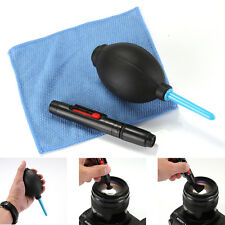 3 in 1 Lens Cleaning Tool Kit Air Blower Cloth Duster Pen Brush Camera Lenspen