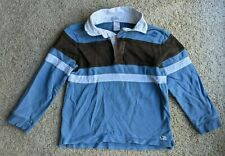 Janie and Jack Long Sleeve Polo, Blue Brown Striped, Size 5