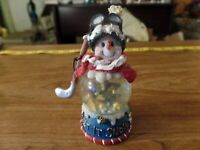"4 1/2"" Tall Snowman Playing Hocky Snow Globe #3110"