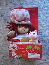 "10"" Strawberry Shortcake Plush With Custard the Cat 2002 Scented Rag Doll"