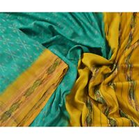 Sanskriti Vintage Green Ikat Saree 100% Pure Silk Woven Patola Sari Craft Fabric