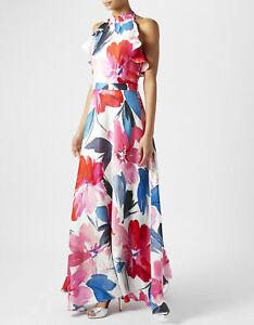 MONSOON Prom Dress 8 ADA Floral Silky Maxi Party Bridesmaid Halter BNWT £119