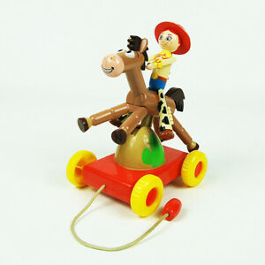 Disney Pixar Toy Story Jessie and Bullseye Pull Toy Rocking Horse Collectible.