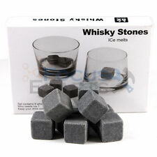 9pcs Whiskey Whisky Scotch Soapstone Cold Glacier Stone Ice Cubes Rocks w/ Bag