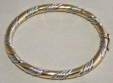 Solid 9ct Yellow & White Gold HEAVY 18.4g Oval Rope Hinged Bangle Bracelet
