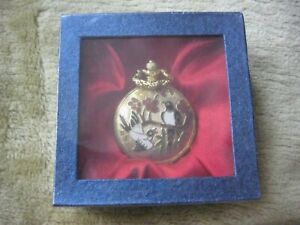 POCKET WATCH GOLD WITH 2 BIRDS DESIGN BATTERY OPERATED NEW IN SEALED BOX