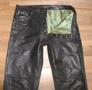 """Long """" Dakota """" Men's Leather Jeans / Biker Trousers Black Approx. W35 """" / L36 """""""