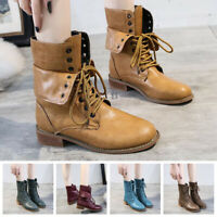 Womens Low Block Heel Zip Ankle Boots Goth Punk Buckle PU Leather Booties Shoes