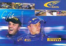 Subaru Autogrammkarte Tommi Mäkinen Petter Solberg 2003 Motorsport Rennsport Pkw