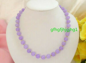 Beautiful Natural 10mm purple Jade Gemstone Round&Coin Beads Necklace 18 inch