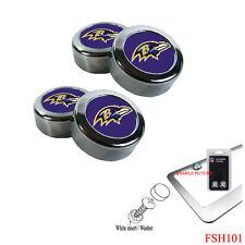 New NFL Baltimore Ravens Chrome License Plate Frame Screw Caps / Bolt Cover