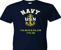 USS BLOCK ISLAND  CVE-106  VINYL & SILKSCREEN NAVY ANCHOR SHIRT.