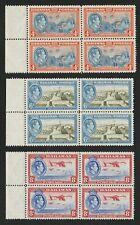 BAHAMAS 1938 GEORGE VI SET x3 SG 158-160 MNH MARGINAL BLOCKS x4