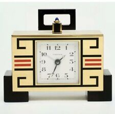 CARTIER PARIS CHINESE ART DECO STYLE GILT BRASS AND ENAMELED DESK ALARM CLOCK