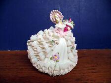MZ Irish Dresden Lace Porcelain Figurine, 'Henrietta', Woman in Pink & White