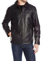 Cole Haan Mens Jacket Black Size Medium M Faux-Leather Full-Zip $200- 777