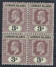 LEEWARD ISLANDS 1905 KEVII 3D BLOCK WMK MULTI CROWN CA