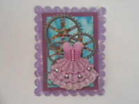 PK 2 GIRLIE STEAMPUNK EMBELLISHMENT TOPPERS GREAT FOR  CARDS & CRAFTS