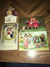 Vintage Lot Of 4 Vintage Colorful Post Cards Printed In Germany 1912 & 1913