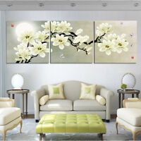 MAGNOLIA FLOWERS 3 PANEL CANVAS WALL ART MODULAR DECORATIVE  BRAND NEW