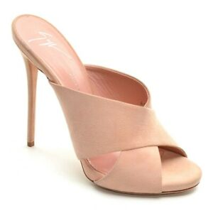 Womens Giuseppe Zanotti $665 Stiletto Slides Pumps 37 / 7 Blush Suede Shoes New