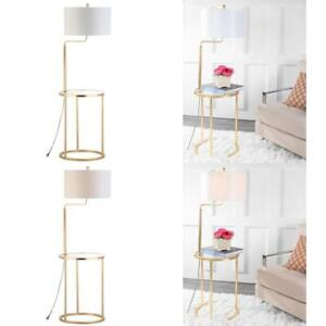 Crispin 57 in. Gold Leaf Floor Lamp with Attached Side Table and White Shade