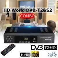 DVBT2+S2 Combo HD 1080P Tuner Decoder Satellite TV Receiver HDTV Set Box^-