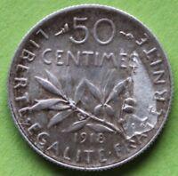 FRANCE FAUTÉE 50 CENTIMES SEMEUSE 1918
