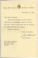 Paul Martin Sr signed autographed letter! Canada! Guaranteed Authentic!