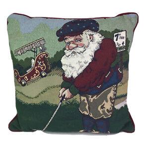 "Riverdale Tapestry Decor Throw Pillow SANTA GOLFING Christmas USA Made 16""x16"""