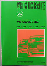 Argumente Nachdruck Verkäuferbrochüre 1977 der Typen W 123 200 230 250 280 280 E