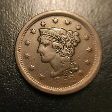 1852 Braided Hair Large Cent AU About Uncirculated Coronet Late Date