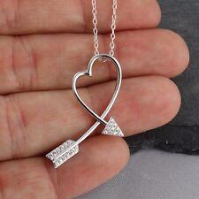 Arrow Heart Necklace - 925 Sterling Silver - CZ Slider Pendant Love Arrows NEW