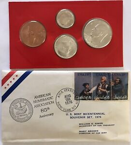Rare 1976 US Bicentennial Silver Uncirculated with mint token 1st day ANA cover